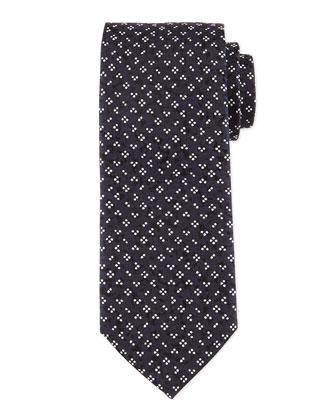 Flower & Dot-Print Silk Tie, Navy