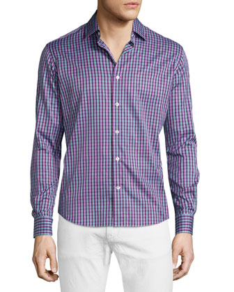 Multi-Plaid Long-Sleeve Sport Shirt