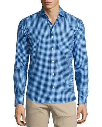 Gingham Long-Sleeve Sport Shirt, Navy