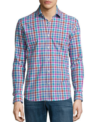 Plaid Long-Sleeve Sport Shirt, Multi