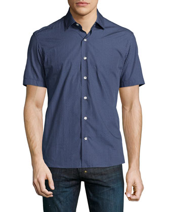 Small Dot-Print Short-Sleeve Shirt, Navy