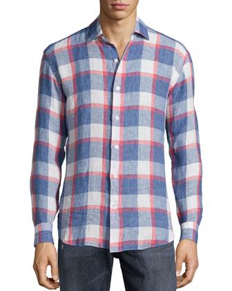 Plaid Linen Long-Sleeve Sport Shirt, Navy/Red/White