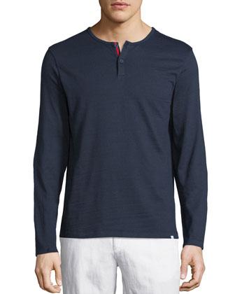 Long-Sleeve Henley Shirt, Navy