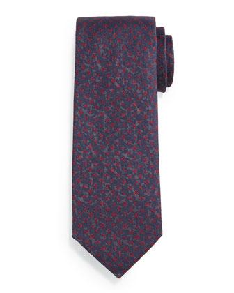 Dotted Flower-Print Silk Tie, Gray
