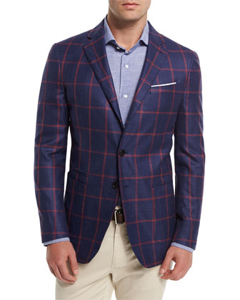 Coastal Check Cashmere-Blend Sport Coat, Navy