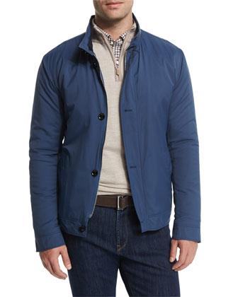 Mayfair Nylon Bomber Jacket, Cashmere-Blend Quarter-Zip Pullover Sweater, ...