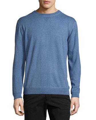 Long-Sleeve Crewneck Sweater, Blue