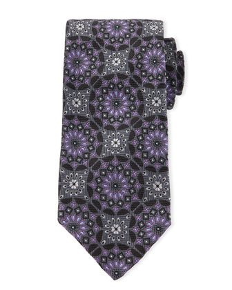 Medallion Sevenfold Tie, Black