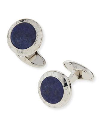 Sodalite Stone Coin Cuff Links