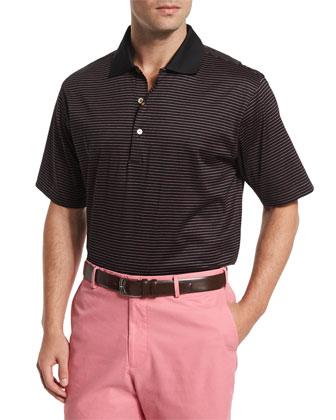 Subconscious Striped Short-Sleeve Jersey Polo Shirt, Black
