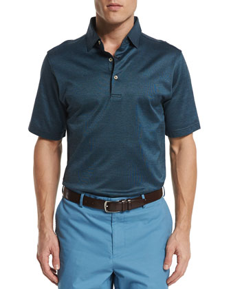 Von Striped Jacquard Short-Sleeve Polo Shirt, Blue
