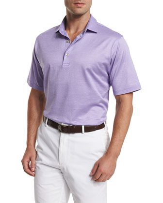 Von Jacquard-Stripe Short-Sleeve Polo Shirt, Purple