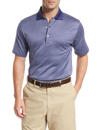 Chuck Checkered Short-Sleeve Jersey Polo Shirt, Purple