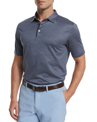 Concord Silk-Blend Short-Sleeve Polo Shirt, Blue
