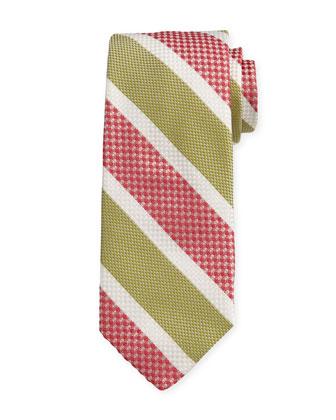 Striped Silk Estate Tie, Rose