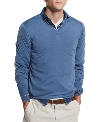 V-Neck Wool-Cashmere Sweater, Sky Blue