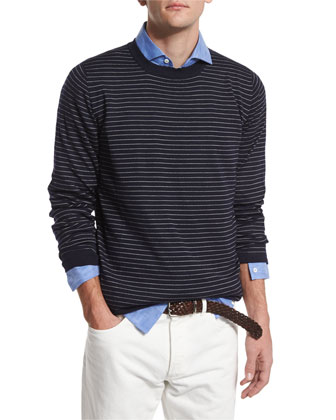Fine Gauge Striped Cashmere Sweater, Navy