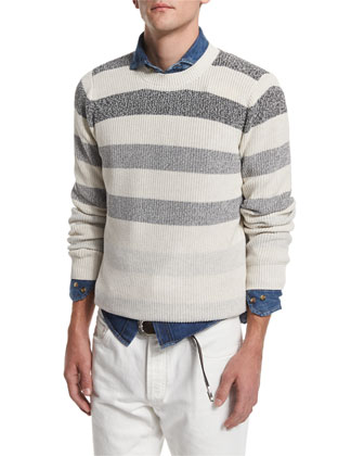 Degrade-Stripe Crewneck Sweater, Fog/Black