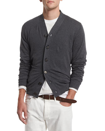 Long-Sleeve Cotton Cardigan, Lead