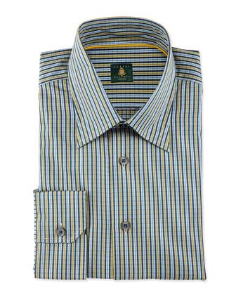 Striped Woven Dress Shirt, Sky