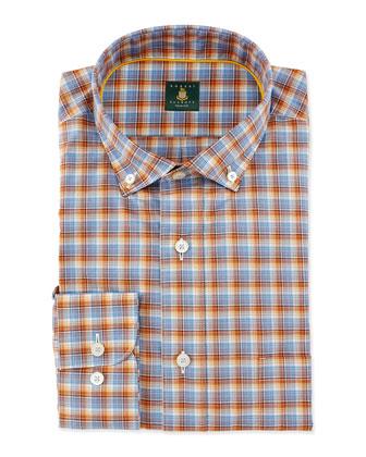 Mini-Plaid Woven Dress Shirt, Blue/Orange