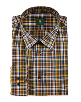 Plaid Woven Dress Shirt, Leaf