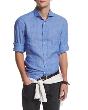 Solid Long-Sleeve Linen Sport Shirt, Sky Blue