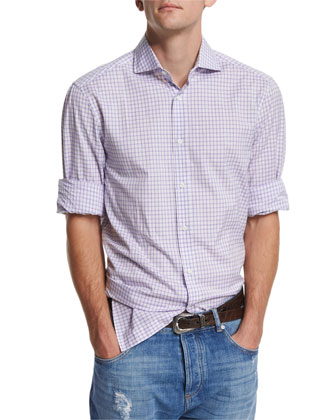 Check Woven Sport Shirt, Purple
