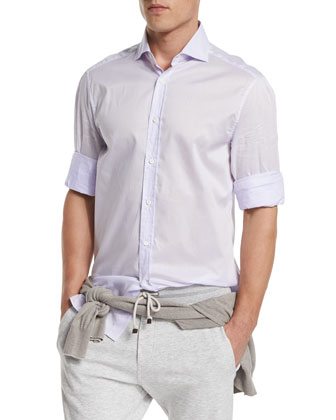 Solid Long-Sleeve Sport Shirt, Lilac
