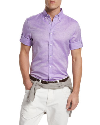 Solid Short-Sleeve Sport Shirt, Purple