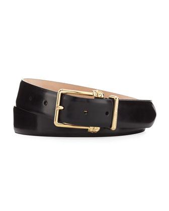Double-Skull Buckle Leather Belt, Black/Gold