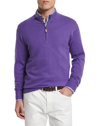 Cashmere-Blend Quarter-Zip Pullover Sweater, Mirage
