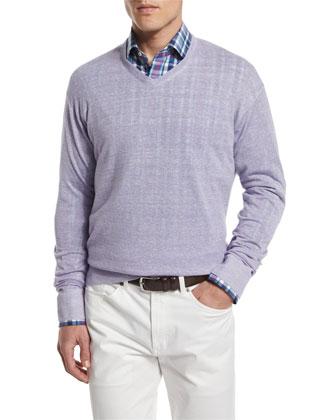 Wool-Blend V-Neck Pullover Sweater, Mirage