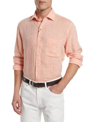 Solid Long-Sleeve Linen Shirt, Orange