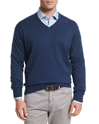 Cotton/Cashmere V-Neck Sweater, Navy