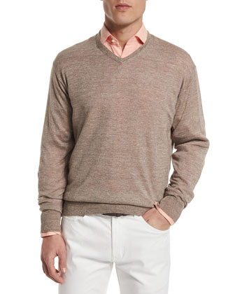 Wool-Blend V-Neck Sweater, Brown