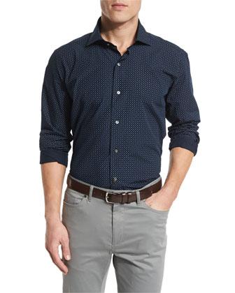 Mini Paisley-Print Sport Shirt, Blue
