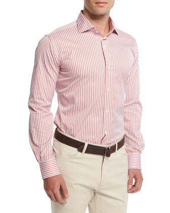 Tenor-Stripe Long-Sleeve Sport Shirt, Summer Coral