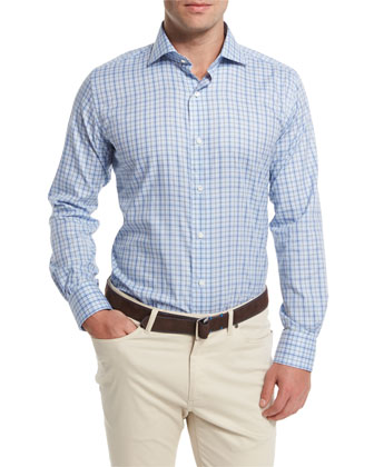 Tattersall-Check Long-Sleeve Sport Shirt, Blue