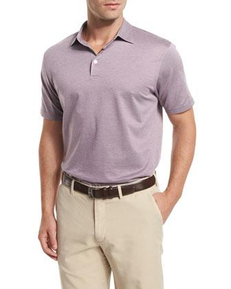 Take Five Short-Sleeve Pique Polo Shirt, Rose