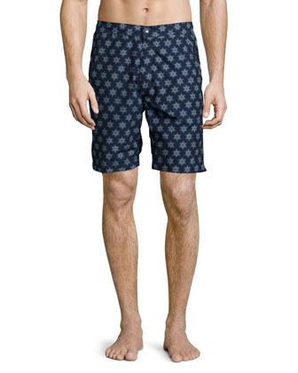 Fiji Sunburst-Print Swim Shorts, Blue