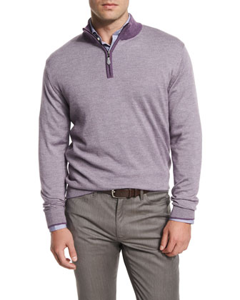 Textured Quarter-Zip Pullover Sweater, Viola