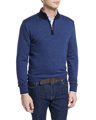 Micro-Stripe Quarter-Zip Pullover Sweater, Blue