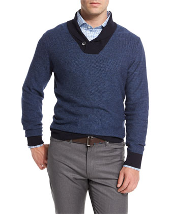 Contrast Shawl-Collar Pullover Sweater, Blue
