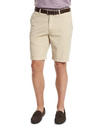 Summertime Flat-Front Twill Shorts, Khaki