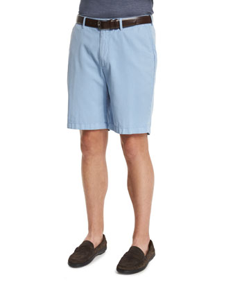 Summertime Flat-Front Twill Shorts, Blue