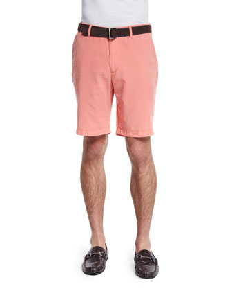 Summertime Flat-Front Twill Shorts, Coral