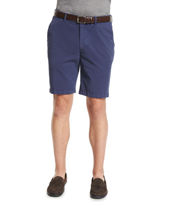 Summertime Flat-Front Twill Shorts, Navy