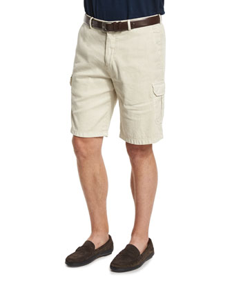 Garment-Dyed Flat-Front Cargo Shorts, Stone