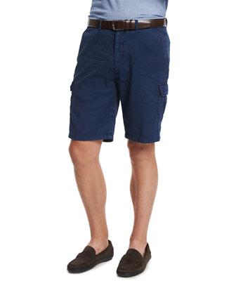 Garment Dyed Cargo Shorts, Navy